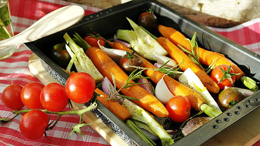 assorted fruit and vegetables on stainless steel tray