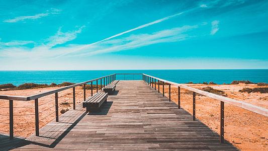 brown wooden dock near body of water