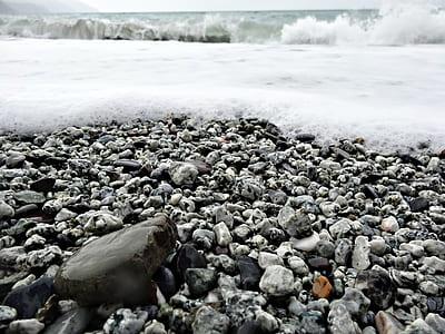 gray stones with snow