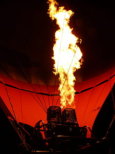 hot air balloon engine turned-on