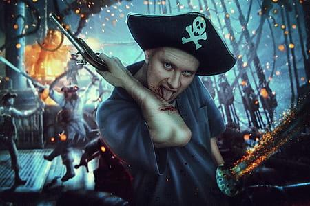 Captain holding pistol digital wallpapper