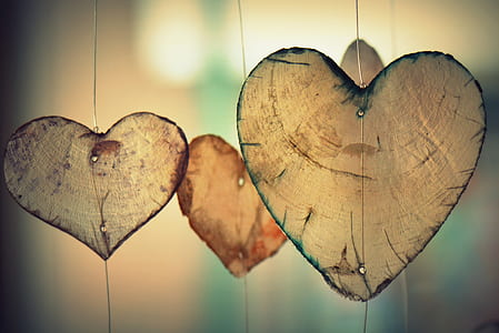 closeup photography of heart hanging decors