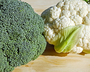 two broccoli and cauliflower