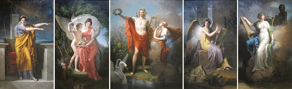 four angel paintings