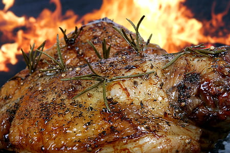 close up photo of roasted chicken