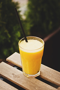 Orange Smoothie Wood Table