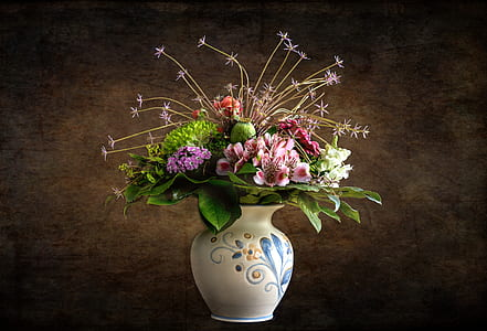 flower bouquet on white ceramic vase