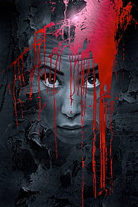 person face with red paint 3D wallpaper
