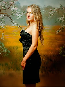 blonde haired woman in black dress standing beside wheat field painting