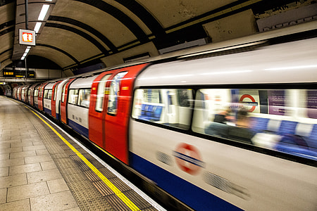 A tube train arrives at a platform on the London Underground