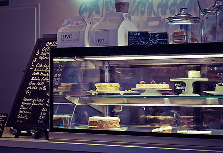 cakes in counter display