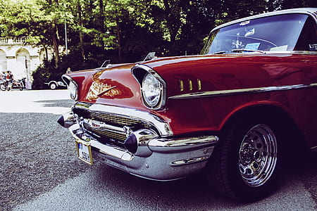 Red and Gray Vintage Car on Gray Concrete Road during Daytime