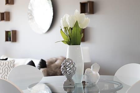 white tulips placed in white ceramic vase