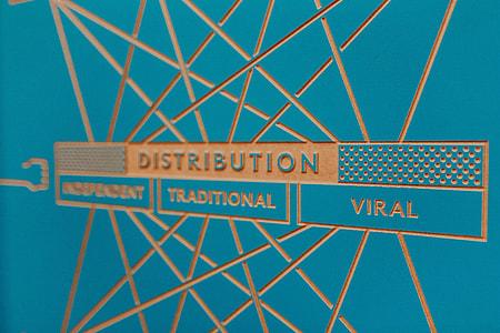 Designer work flow chart on a blue background