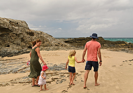 family walking on seashore