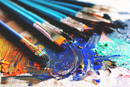 Art brushes and paint