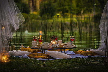dining table near pond with throw pillows