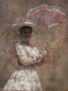 woman holding umbrella painting