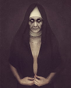 woman dressed as nun with face photo edit