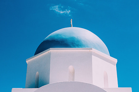 A classic blue-domed church in Greece
