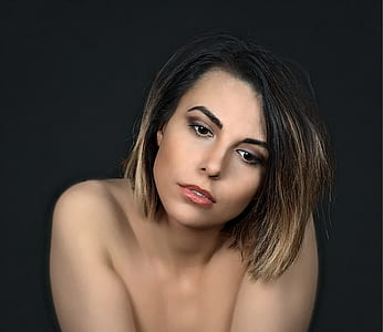 portrait photo of woman with short hair