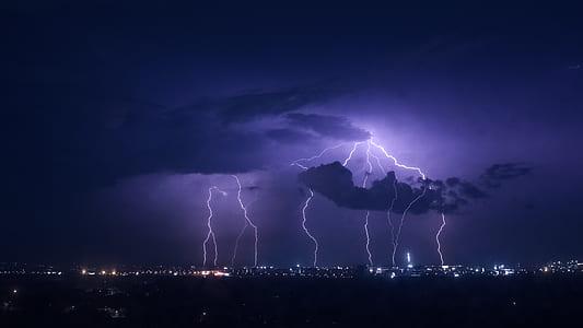photo of thunder during nighttime