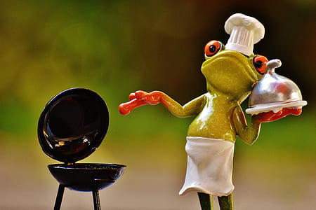 photo of frog holding food tray near kettle grill