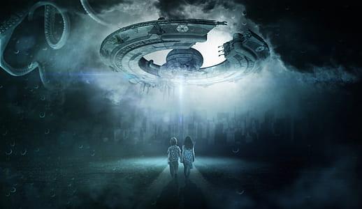 boy and girl walking towards unidentified flying object digital wallpaper