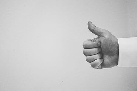 thumbs up, hand, people, black and white