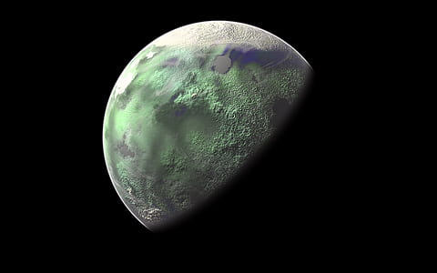 green and gray moon