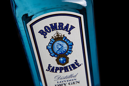 Close-up shot of a blue bottle of Bombay Sapphire gin, image captured with a Canon 5D DSLR