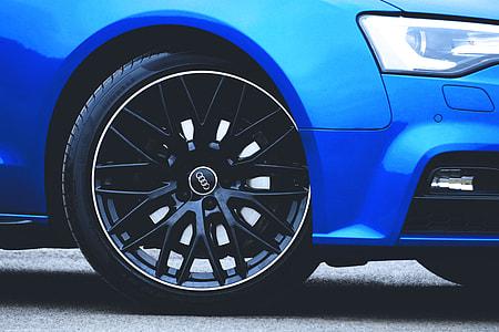 Closeup shot of an alloy car wheel