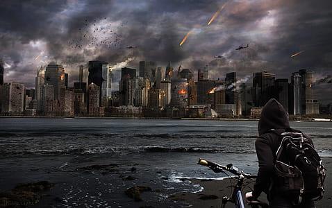 person holding bike facing city digital wallpaper