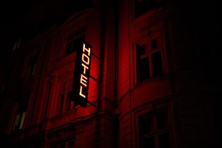 white hotel LED signage turned on
