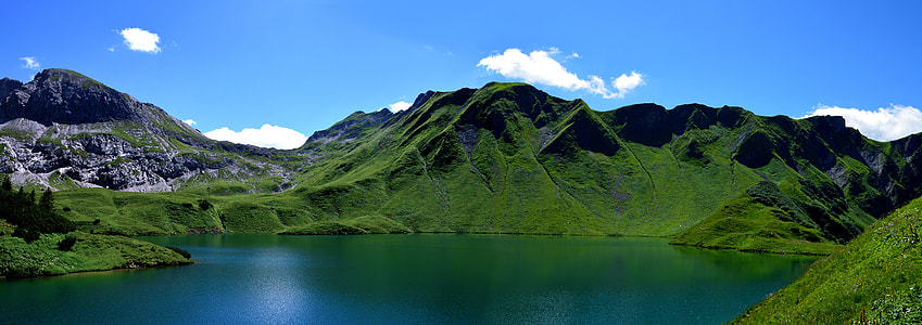 lake in the middle of green land