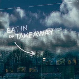 Eat In or Takeaway Window Sign