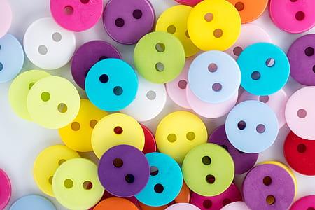 multicolored plastic buttons