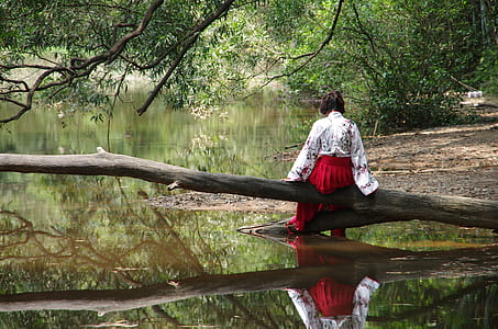 woman wearing red bottoms sitting on tree branch on body of water