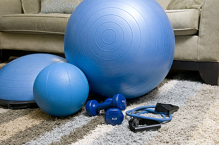 assorted blue exercise equipmentrs