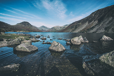 Landscape shot taken with foreground rocks at Wast Water, Lake District, England