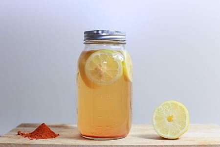 lemonade in clear jar bottle