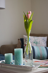 pink tulips with clear glass vase and two teal pillar candles