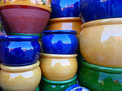 blue, yellow, and green ceramic pot lot