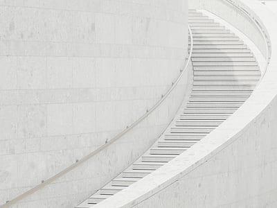 white concrete stair at daytime