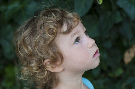 toddler with brown hair
