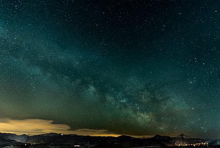 photograph of green night sky
