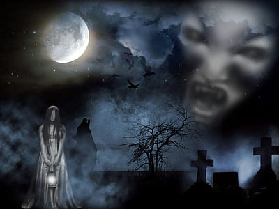 woman in white standing at cemetery and white ghoul face in clouds under full moon graphic wallpaper