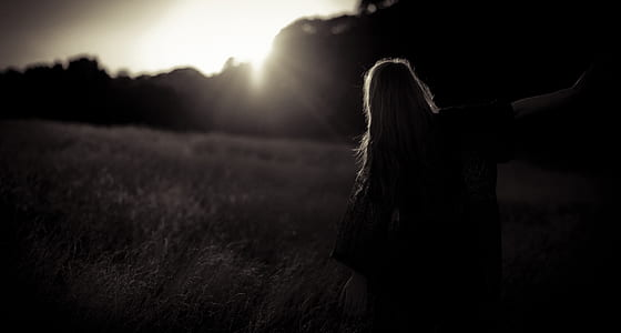 silhouette, woman, girl, female, outdoors, meadow