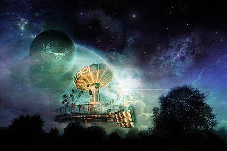 planet under black sky illustration