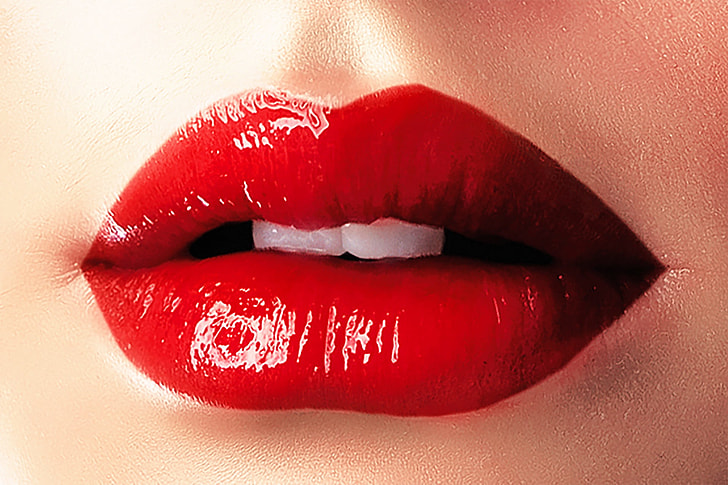 person wearing red lipstick